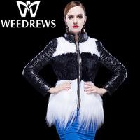 Winter Genuine Sheepskin Leather Coat For Woman Lambswool Fur & Mongolian Fur Spliced Long Sleeves Slim Fit Down Leather Jacket