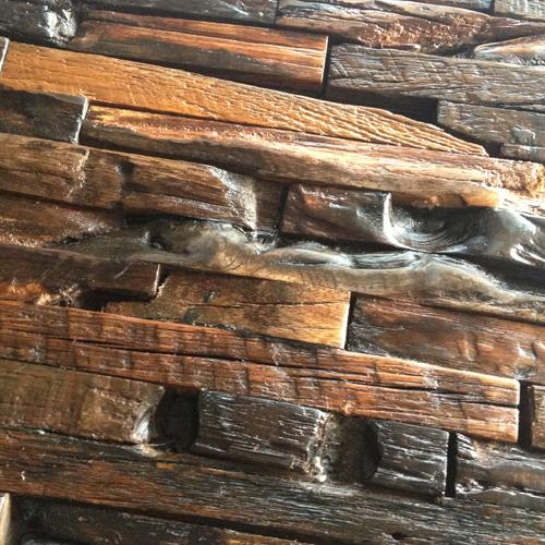Verkoolde massief donker bruin 3d houten muur tegeltableaus moza ek decoratie antiek oude boot - Donker mozaieken badkamer ...