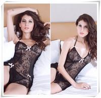 Hot 2014 Victoria Black Sex Sexy Lingerie Fantasia Erotil Pajamas Underwear Costumes Sleepwear Dress Set For Women