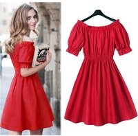 2014 summer dress new Korean word collar sexy strapless sweet beauty gentlewoman dress High waist slim Waist was thin dress