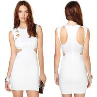 new arrivals women dresses Back unique sleeveless o-neck high-elastic slim white dress