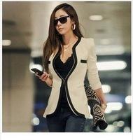 New fashion Women Long Sleeve Slim Brand Jacket Lady Autumn V-neck Black White OL Suit Jackets Blazer Plus Size