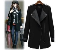 2014 Fashion New  Winter Spring Women's Wool Leather Casual Zipper blazer coat overcoat