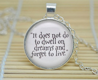 10pcs Harry Potter 'It does not do to dwell on dreams' Dumbledore Necklace, Harry Potter Jewelry Cabochon Necklace