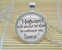 "10pcs Harry Potter ""Hogwarts Will Always Be There To Welcome You Home"" Glass, Version 2 glass Cabochon Necklace"
