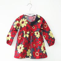 Retail spring new 2014 fashion baby kids children girls winter princess beautiful dresses bowknot Long sleeve petals dress 1060#