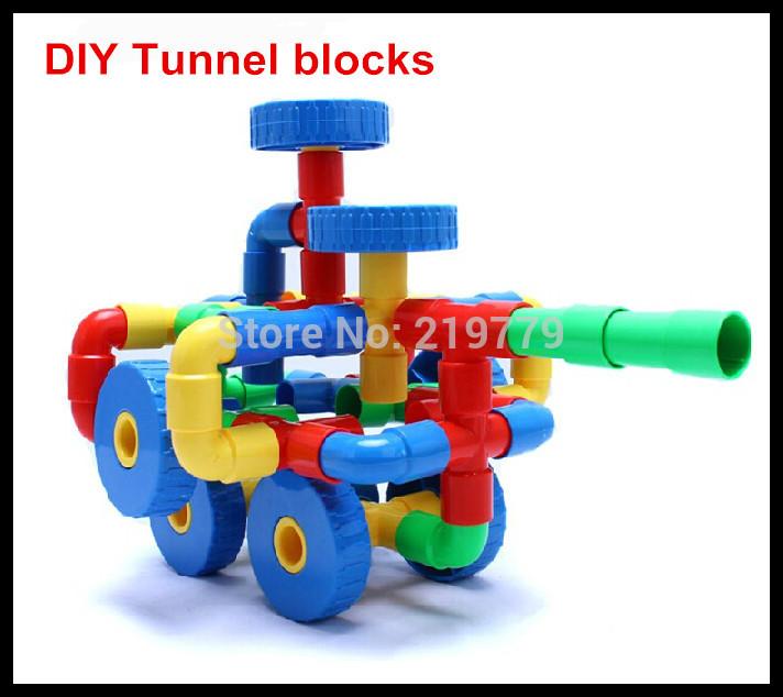 crianças plástico túnel 50pcs/set brinquedos blocos blocos de construção educacionais kits conjuntos para a criatividade das crianças(China (Mainland))