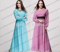 Mu10010 2014 New Arrival Summer Chiffon Muslim Long Sleeve Dress In Singapore ,Dubai Kaftan Dresses,Pelpum Baju Kurung