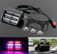New 18 LED Red & Blue Car Strobe Flash Warning Light High Power Windshield Emegency Flashing Lamp For Police Firemen EMS