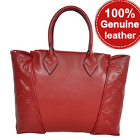 REAL LEATHER 2014 New Flower Pattern Genuine Leather Women Handbags Brand Ladies Cowhide Popular Handbags