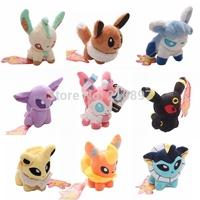 "New Arrival 9pcs/lot Pokemon Plush Toys 5"" Umbreon Eevee Espeon Jolteon Vaporeon Flareon Glaceon Leafeon Animals Soft Stuffed"