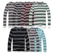 2014NEW!!!knitwear backing shirt Pure cotton stripe men's leisure v-neck Set head men's long sleeve Striped sweater