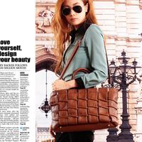 2014 new fashion women handbag female classic leather shoulder bag vintage woven ruched tote bag lady large capacity travel bag