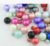 Frosted sided spherical earrings Cute candy colored earrings