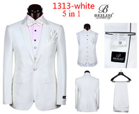 2014 New Arrived Beilisi Business Suits Groom Dress Suits For Wedding 5 pieces Jacket+vest+pant+handkerchief+tie Red White Black