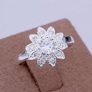 925 Korean Fashion Ring Ring minimalist nature Taobao supply insets Sunflower Ring B4.8  R053(China (Mainland))