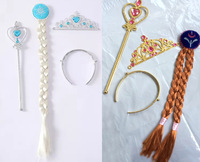 Wholesale Girls Frozen Accessories Frozen Crown + HairBand + Frozen Wand + Girls Wig Girls Party Dressing Kids Cosplay Ornaments