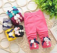 Lovely Bowknot Baby Girl Spring Autumn Leggings Toddler Kids Dotted Pants Girl Trousers 7-24M 1pc Free shipping DDK-1402