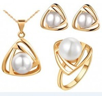 Fashion 18K white gold plated austria crystal women's Beautiful pearls pendant necklace/earrings/ring Jewelry Sets