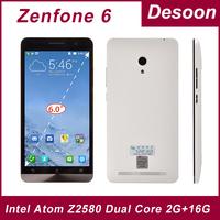 "Original ZenFone 6 Intel Z2580 Dual Core 2.0GHz Android 4.3  Phone 6.0"" IPS Screen 2GB RAM +8G/16GB ROM Camera 13.0MP 3G/ vicky"