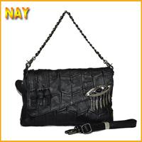 Free Shipping 2015 New Women Handbag Belt Eyes EU Style Metal Chain Cover Black Bag Women Messenger Bag