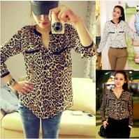 Hot Sale 2014 New Fashion Women Star Print Leopard Print Chiffon Blouse free shipping