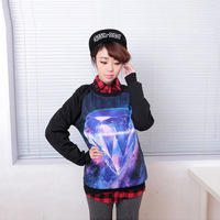 2014 New Woman Hoodies Harajuku style Long Sleeves O-Neck  Novelty Diamond Print Casual Bottoming Autumn Sweatshirts SA14-186