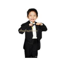 2014 niño de esmoquin 5 piezas blanco formal/traje negro para boda bebé establece un poco niño vestido de fiesta 1- 10 años niño 0774(China (Mainland))