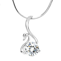 925 Silver Necklace Lady's Swan Pendant Necklace + Crystal Jewelry Wholesale Drop shipping