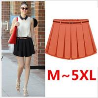 M~5XL Women Skirts Summer 2014 Elastic Waist Pleated Ladies Skirt Solid Female Shorts Chiffon Mini Skirts For Plus Size Women