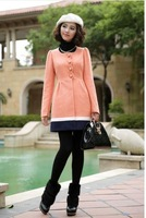 2014  Fashion High Quality Round Collar Winter Slim Wool Coat For Women/4 Color M-XXL