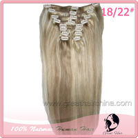 Free Shipping 10Pcs/Set 18 inch 100gram Natural Straight 1#, 18/22# Brazilian Remy Virgin Human Hair Clip in Hair Extensions