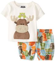 2014 new baby boy set summer kids clothes short sleeve cartoon cotton children set  fashion animal 2 pcs clothing suit