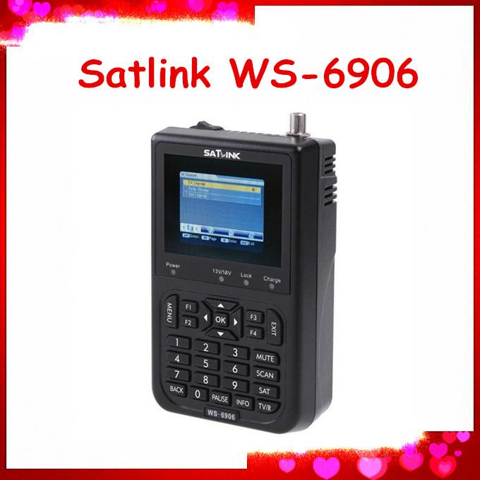 Free shipping Satlink WS-6906 DVB-S FTA Digital Satellite Finder Meter TV Signal Receiver For sat finder WS6906(China (Mainland))