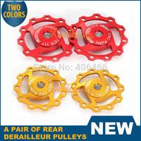 New A pair 11T Derailleur Pulley AEST MTB bike SRAM Jockey Rear Wheel Gold/Red Aluminum free/drop shipping
