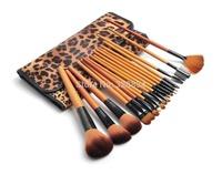 Discount 18 pcs Professional Makeup Brush Set  Kit &Tool With Leopard Print Luxurious Bag