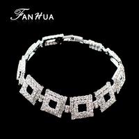 2014 Fashion Punk Rock Luxury Geometric Square Hollow Out Rhinestone Chain Bracelet For Women Wholesale