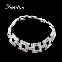 2014 Fashion Luxury Geometric Square Hollow Out Paved with Rhinestone Chain Bracelet for Women Wholesale