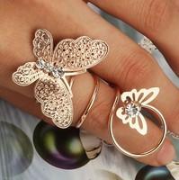 Hot fashion alloy rhinestone butterfly ring jewelry Yiwu jewelry wholesale R040B4