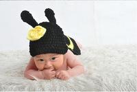 Free shipping newborn baby children boys child photography props Crochet Handmade wool modeling Bee set 0-8M