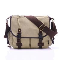 HOT new 2015 men's fashion canvas solid cover zipper casual shoulder school bags tactical crossbody women messenger bags bolsa