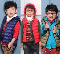 Retail winter children's Outerwear Coats hooded vest boys windbreaker Jacket Children 100% duck Down coats Vest,baby warm vest