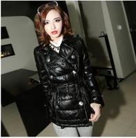 2014 slim fasion brand luxury casual genuine sheepskin leather down women jacket jackets coat free shipping OM-56 dropship