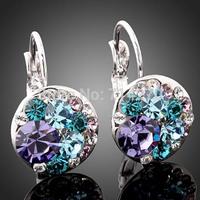 Free Shipping white gold plate GP Austrian Zircon Crystal Jewelry  fashion New type hoop Earrings