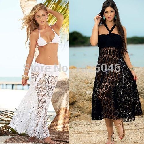 New 2014 Summer sexy see-through sleeveless white lace maxi dress women long beach bikini cover up dress vestido saida de praia(China (Mainland))
