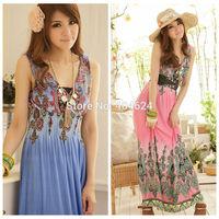 Elegant 2014 Summer Breathable Hollow Out V-neck Bohemian Beach Seaside Women Milk Silk Oversized Swing Tank Long Boho Dresses