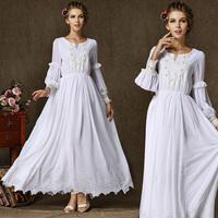 High Grade Autumn Winter Designer Dresses Plus Size Women's Dress Luxurious Pearl Lace Embroidered Chiffon Lantern Sleeve 9501#