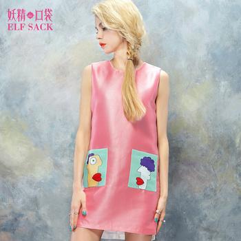 ELF SACK fashion brand new arrival 2014 autumn women slim color block pocket print one-piece dress sleeveless free shipping