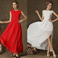 Fashion Summer Sleeveless Sexy Women European and American Fashion Slim Elegance Dress High Quality With Shoulder Flowers 8133#