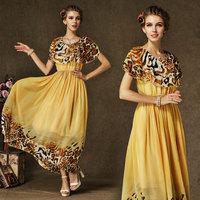 New Fashion European Vintage Women's Dress Elegance Double Ruffled Leopard Print Chiffon High Waist Bohemian Dress 8132#